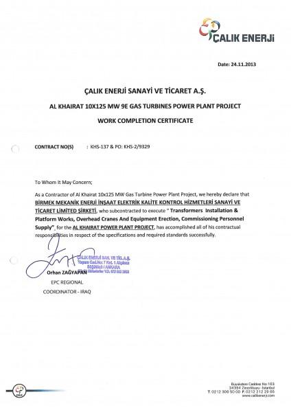 Al Khairat 1250MW Power Plant Project - Birmek Corporation
